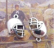 30PCS Tibetan Silver Nice Football Helmet Charms Beads Bracelets Pendants