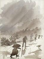 FIGURES IN RAIN CEYLON - SRI LANKA Antique Watercolour Painting c1920
