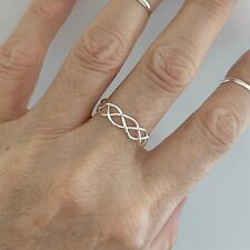 Sterling Silver Thin Wire Weave Ring, Silver Rings, Swirl Ring, Boho Ring