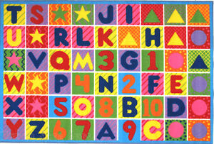 """4'3"""" x 6'6"""" ABC Area RUG Kids Educational Alphabet & Numbers Design Colorful 5x7"""