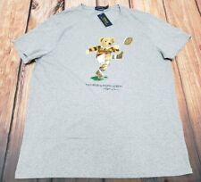 NWT Polo Ralph Lauren Mens Bear Logo Rugby Polo Grey Graphic T Shirt Size XXL