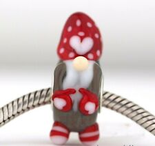 Xmas Red Heart Gnome Mandy Ramsdell Silver Core charm bead lampwork glass
