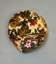 Vintage Pillbox Hat Sz 7 1/8 M Brown Green Floral Leaf Print Velvety Tapestry
