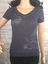 Abercrombie Shirt Small Dark Blue Silver Beaded Embroidered Floral Design Top