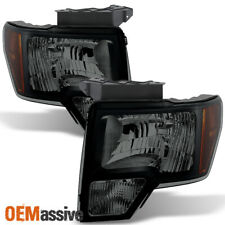 Fit 2009-2014 Ford F150 Pickup Black Smoked Headlights Replacement Lamps L+R