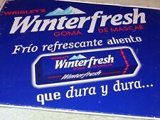 "VINTAGE WRIGLEY'S WINTER FRESH GUM +MOUNTAINS 16"" METAL GASOLINE OIL FLANGE SIGN"