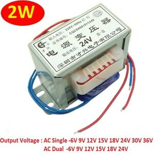 AC 220V 50Hz Power Transformer Single/Dual 2W Output AC 6V 9V 12V 15V 18V 24V