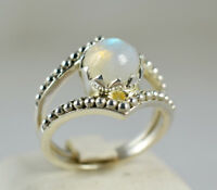 Rainbow Moonstone Ring 925 Solid Sterling Silver Handmade Jewelry (US-RBM-013)