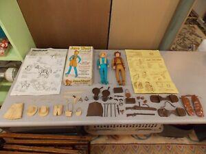Vintage Marx Jane & Johnny West Action Figures w/Box, Manuals, & Accessories