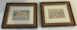 Pair Of Vintage Italian 925 Silver Embossed/Etched Framed Picture ~ Signed