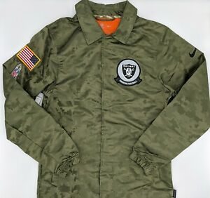Nike NFL Salute to Service Raiders Green Camo Snap Up Jacket AT7796-222 Small