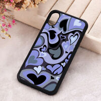 Purple Heart Swirl Phone Cover Hippie Love iPhone X 11 12 Mini Pro Max Soft Case