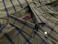 Untuckit Mens Slim Fit Cotton Button Down Dress Shirt Gray Blue Check Size L