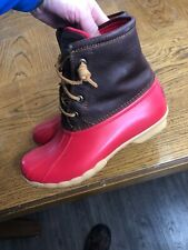 Sperry Top-Sider Women's 6.5M STS90994 Saltwater Boot Cognac Red Excellent