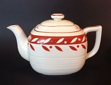 Moriyama Retro 1950s Style Rectangular Red And White Tea Pot - Japan