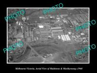 OLD POSTCARD SIZE PHOTO OF MELBOURNE VIC AERIAL OF MAIDSTONE & MARIBYRNONG 1960