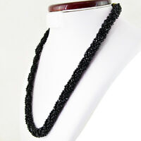 253.50 CTS NATURAL SINGLE STRAND FACETED RICH BLACK SPINEL ROUND BEADS NECKLACE