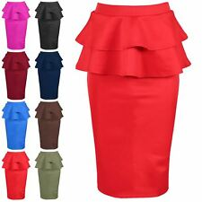 Ladies Womens Front Cut Out Double Frill Bodycon Wiggle Pencil Fitted Midi Skirt