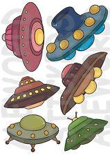 6 ADESIVI UFO WINDOW STICKERS DISCHI VOLANTI SPAZIALI FINESTRA VETRI RAZZI SPAZI
