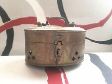 Vintage Made in India Brass Trinket Potpourri Box Patina