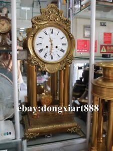 "37"" European Retro Bronze Gold Mechanical clockwork Swing Table Clock Timepiece"