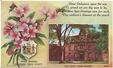 State Flower (Peach Blossom) and State House in Delaware State Postcard
