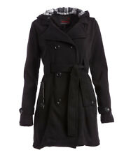 Black Hooded Trench Coat Size 8 Belted C-18