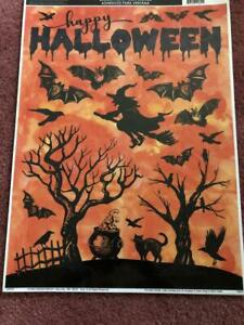 HALLOWEEN WINDOW CLINGS, WITCH, - NEW.