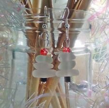 Festive Frosty White Christmas tree sea glass earrings. Seasonal. Xmas