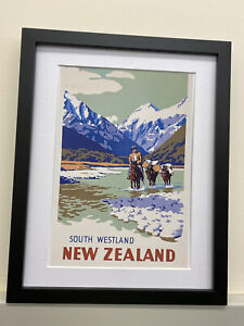 Vintage Retro Reproduction New Zealand Travel Poster Print A4