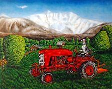 Devon Rex On The Farm riding tractor cat art print 8x10