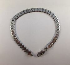 "9ct White Gold Curb Bracelet LADIES OR MENS 6mm Wide  8"" Length  9.9g  NEW"