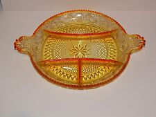 Vintage Indiana Glass Sunset Duncan Miller Sandwich Glass Relish Dish