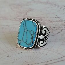 Turkish Ottoman Turquoise Gemstone 925 Sterling Silver Mens Ring Gemstone