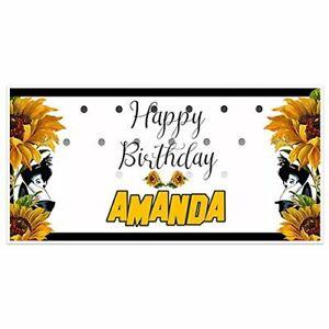Sunflower Girl Black Dress Birthday Banner