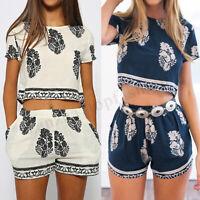 2 Pcs Women Summer T-Shirt Short Sleeve Floral Print Tee Hot Shorts Pants Plus