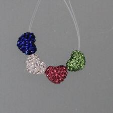 10*12mm Across Hole Heart Shape Polymer Clay Full Rhinestone Shamballa Beads