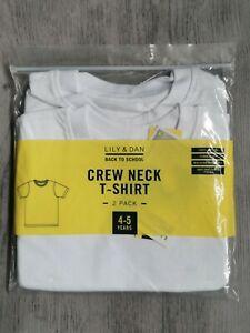 Kids School PE Crew Neck T-Shirt 2 Pack 4-5 years New Lily & Dan White Unisex