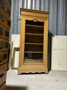 Vintage Glazed Armoire Display Cabinet French Oak With Burle Walnut Decor