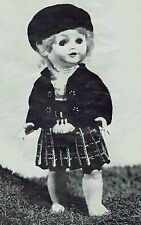 Doll's Clothes Knitting Pattern, vestito da scozzese .16 in (ca. 0.41 cm) Bambola.