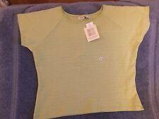 Ladies Top, Lima Bean Green with White Mini-stripe, Crossroads Women, 2X (Size 2