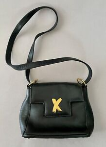 Vintage BY PALOMA PICASSO ITALY Black Leather Shoulder Purse Flap Bag FREE SHIP