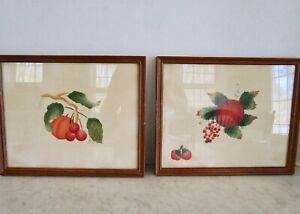 Theorem painting pair of 2 still life fruit signed folk art framed vintage 1979