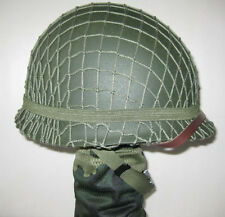 Collectable Replica WWII WW2 US Army M1 Helmet &Net Canvas Chin Strap Green