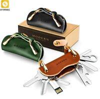 Key Wallet Genuine Leather DIY Keychain EDC Pocket Car Key Holder Key Organizer
