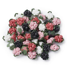 50x Handmade Porcelain 3D Flower Cabochons 4-Color Self-Adhesive Tiles 15~17mm