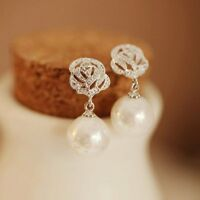 Fashion Shiny Crystal Rose Drop Dangle Earrings Women Charm Jewelry Gift Party