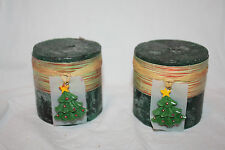 """Lot of 2 Jante Green Holiday Forest Christmas Tree 3"""" x 3"""" Pillar Candles"""