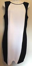 Next UK14 EU42 US10 new black and cream stretch lined sleeveless dress