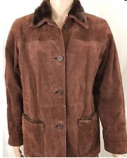 HABAND Brown Heavy Genuine Leather Suede Faux Fur Accents Coat Men's Large